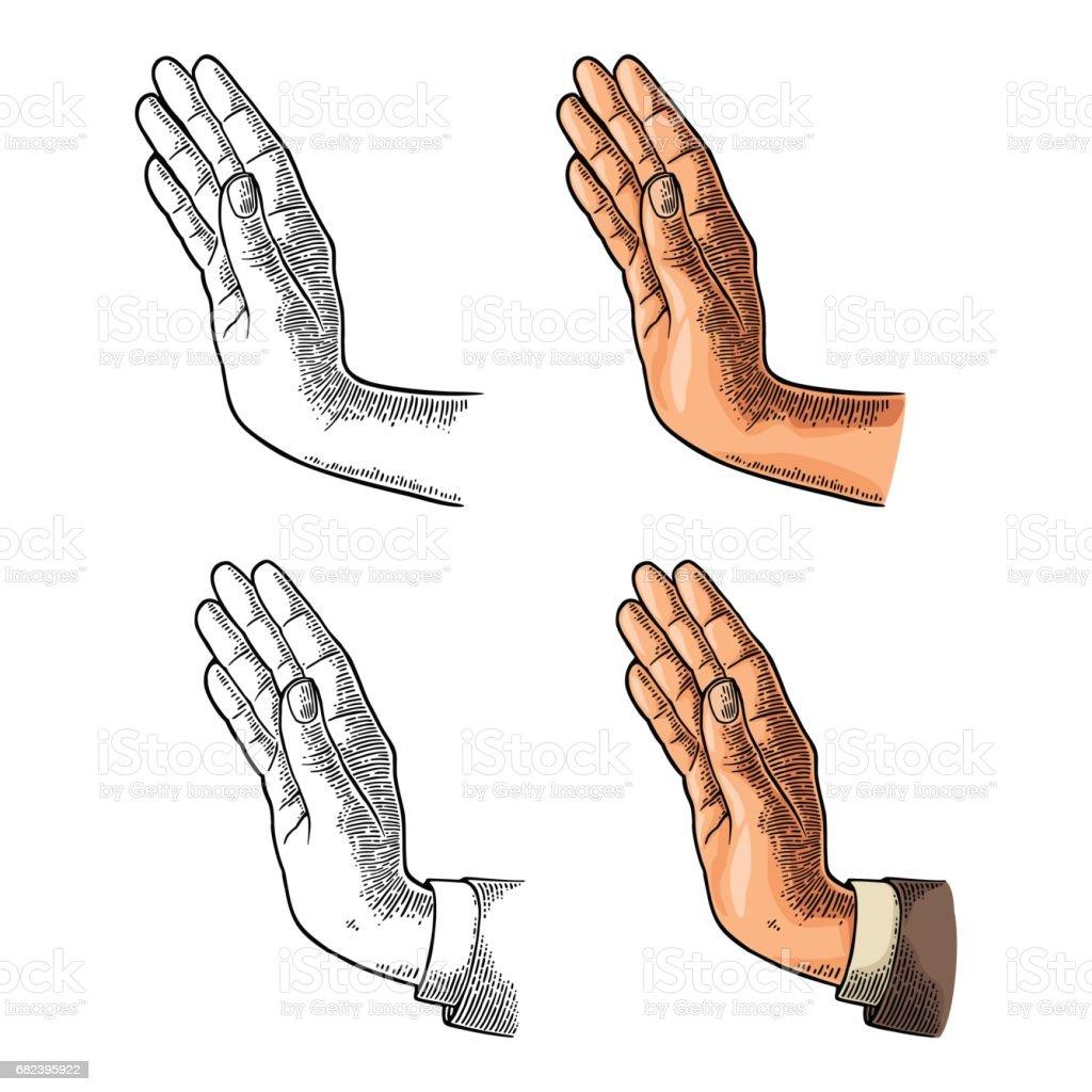 Femme main montrant le geste d'arrêt. Gravure vintage de couleur Vector femme main montrant le geste darrêt gravure vintage de couleur vector – cliparts vectoriels et plus d'images de adulte libre de droits