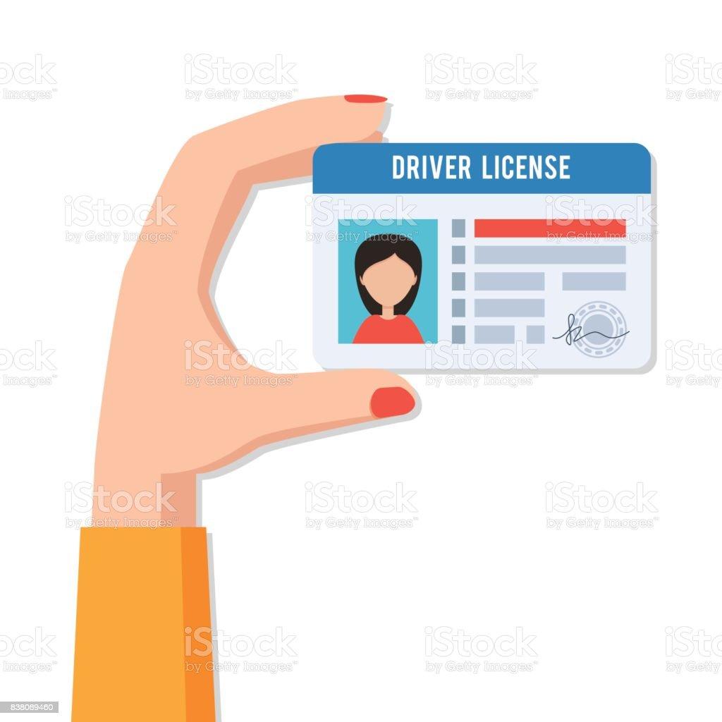 Mano femenina con licencia de conducir - ilustración de arte vectorial
