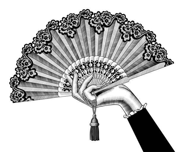 Female hand with open fan Female hand with open fan. Vintage engraving stylized drawing. Vector illustration temporal lobe stock illustrations