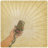 music vintage background. female hand with retro microphone. vector illustration - eps 10