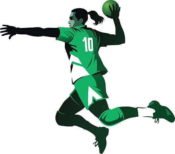bildbanksillustrationer, clip art samt tecknat material och ikoner med female handball player jumping with ball - isolated - handboll