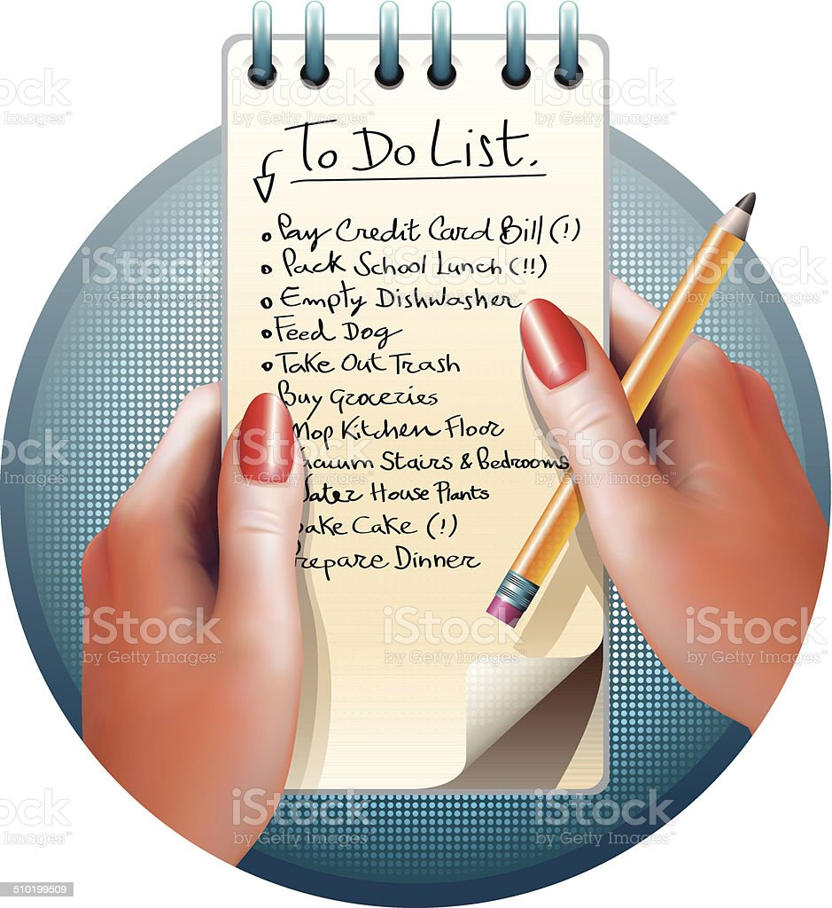 Female Hands and To Do List vector art illustration