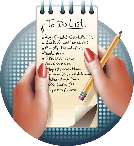 Female Hands and To Do List CMYK Ai10 eps file. shopping list stock illustrations
