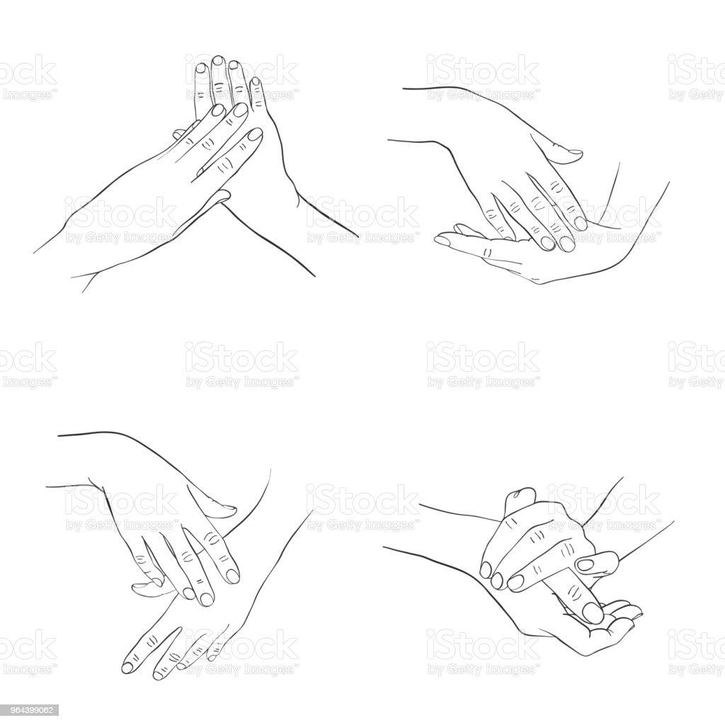 vrouwelijke handen toepassen crème - Royalty-free Arm - lichaamsdeel vectorkunst