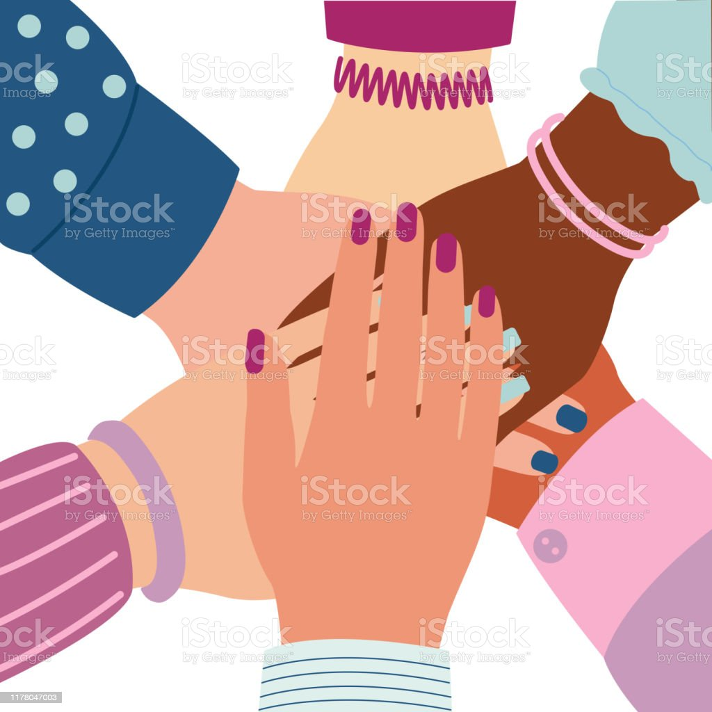 Female Hands Folded In Center Unity Symbol Team Group Cooperation Togetherness Partnership Agreement Teamwork Social Community Woman Arm Vector Illustration Isolated Stock Illustration Download Image Now Istock