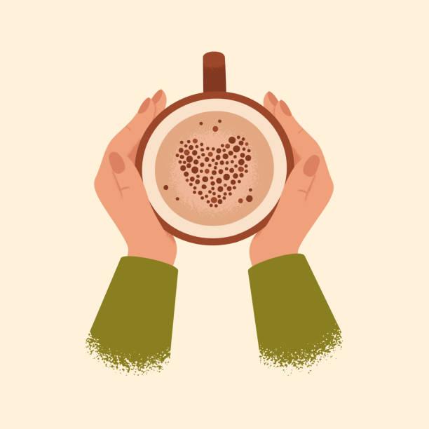 ilustrações de stock, clip art, desenhos animados e ícones de female hands holding cup of coffee isolated from background. - hygge