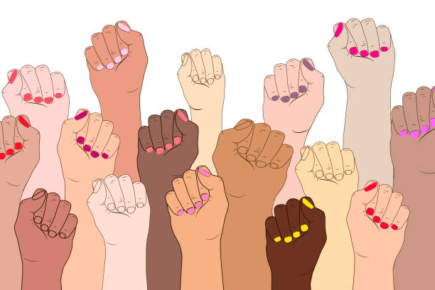 Female hands on a white background. A symbol of the feminist movement, struggle and resistance. Vector illustration concept of International women feminism. Female fingers with manicure isolated. equality stock illustrations
