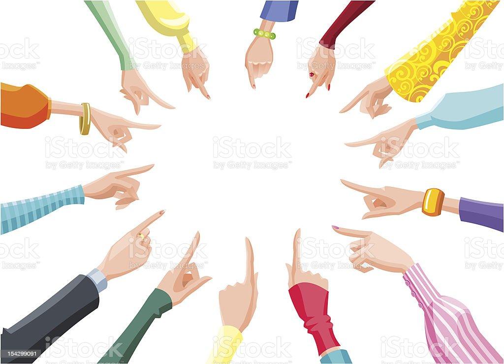 female hands pointing to the center royalty-free stock vector art