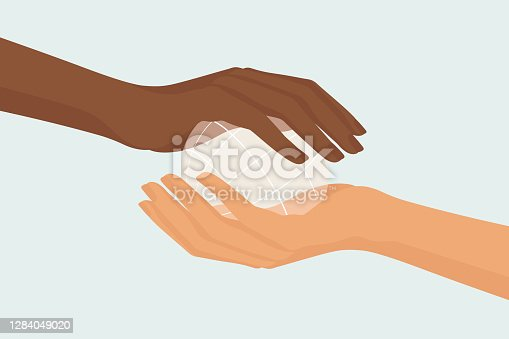 Two female hands, black and white, holding small transparent globe, sharing, collaborating and preserving earth. Beloved community inspired vector illustration.