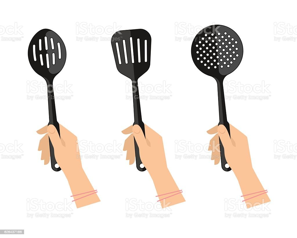 Female Hands With Kitchen Utensils: Slotted Spoon, Spatula And Skimmer.  Royalty Free