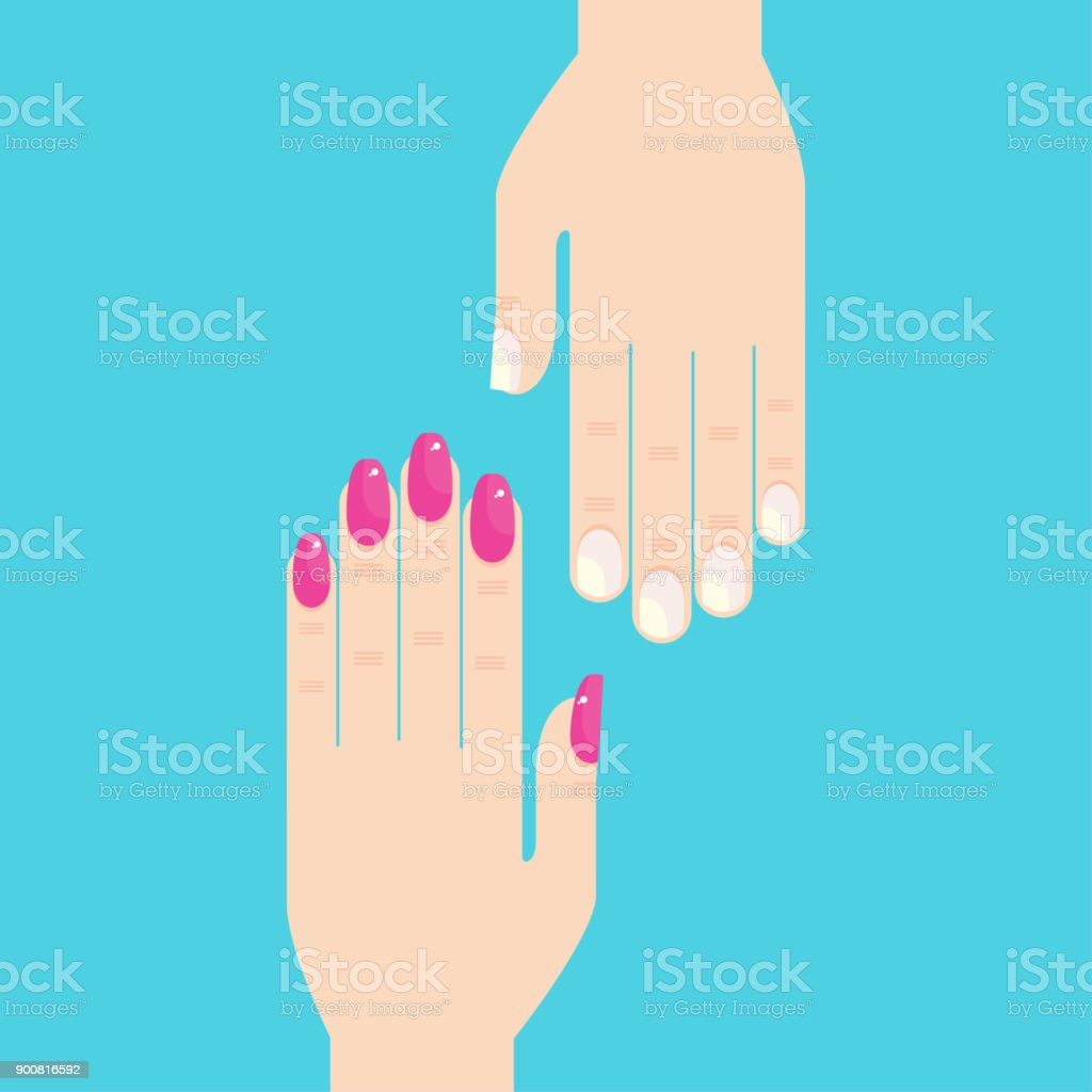 Female hands with manicure and unpainted nails
