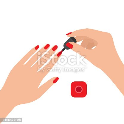 Female hands with nail polish. Coat your fingernails with red varnish. Vector illustration on white background.
