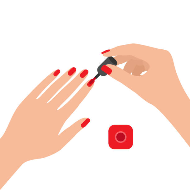 Female hands with nail polish. Coat your fingernails with red varnish. Vector illustration on white background. Female hands with nail polish. Coat your fingernails with red varnish. Vector illustration white nail polish stock illustrations