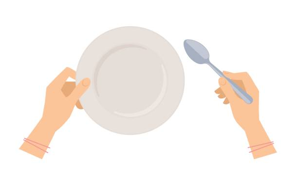 Female hands with soup spoon and empty plate. Female hands with soup spoon and empty ceramic plate. Flat concept illustration of restaurant and kitchen utensils, silverware. Vector elements for web design, social networks and food infographics. serving dish stock illustrations