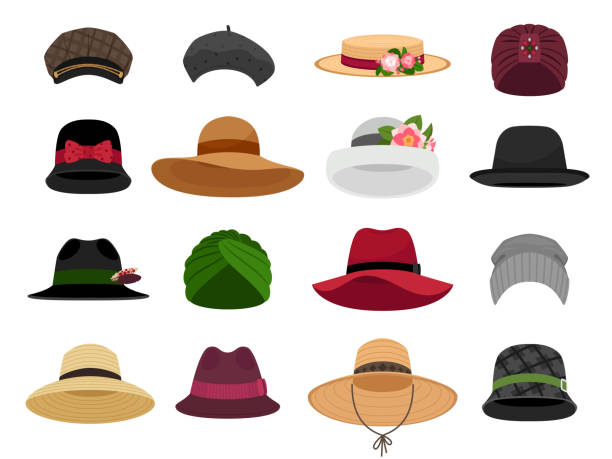 Female hats and caps vector art illustration