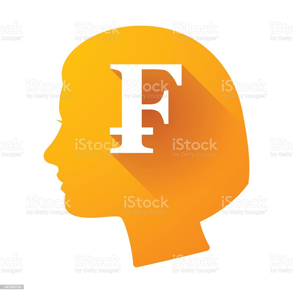 Female head icon with a swiss franc sign stock vector art more female head icon with a swiss franc sign royalty free female head icon with a buycottarizona Images