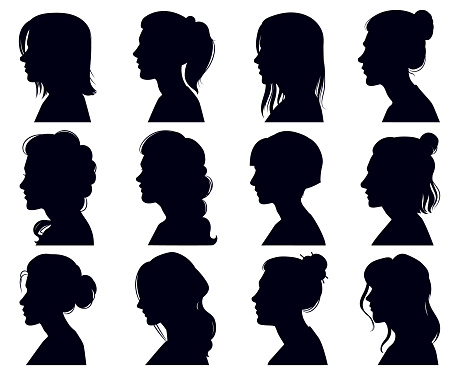 Female head silhouette. Women faces profile portraits, adult female anonymous characters face silhouettes. Girls profiles vector illustration set