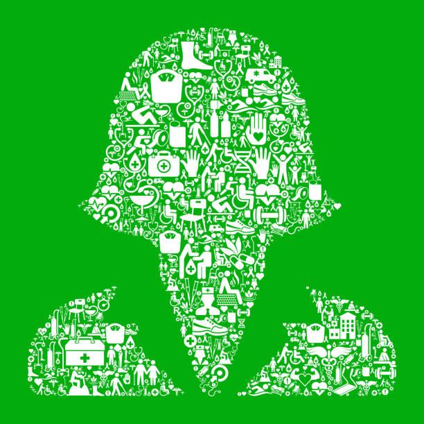 ilustrações de stock, clip art, desenhos animados e ícones de female headshot  green medical rehabilitation physical therapy - senior business woman tablet