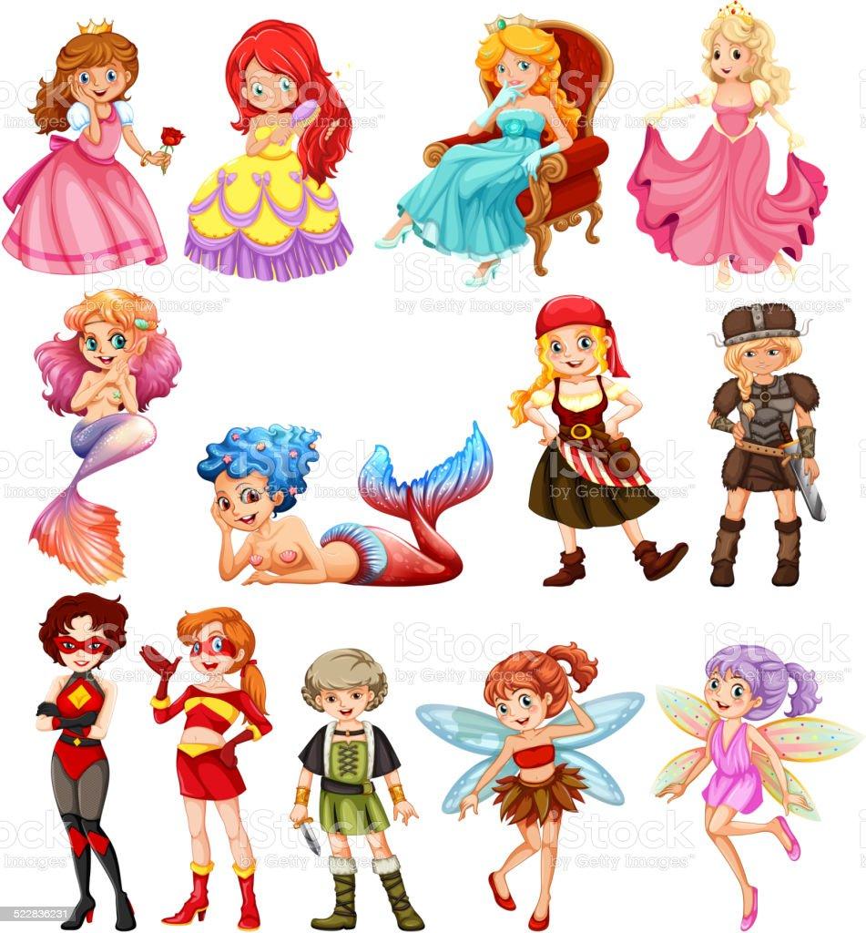 Female heros vector art illustration