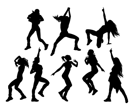 female hip hop dancers black and white vector silhouette set