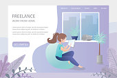 Female hipster freelancer with tablet at home or office,comfortable workplace,banner template about freelance ,flat vector illustration
