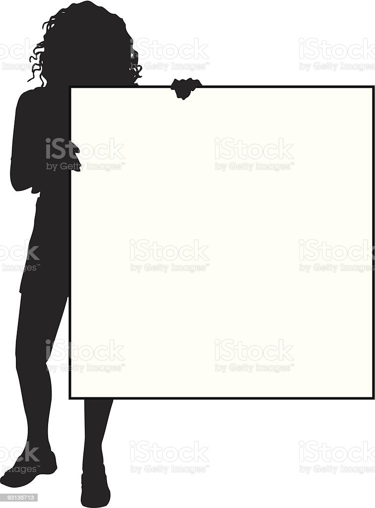 Female holding blank sign - vector royalty-free female holding blank sign vector stock vector art & more images of adult