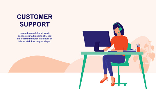A Female Hotline Operator Advises Client. Customer Service And Business Support Concept. Vector Flat Cartoon Illustration.