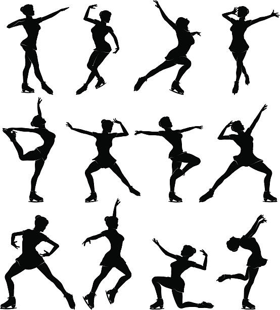 Female Ice Skating Detailed silhouettes set of female ice skating. figure skating stock illustrations