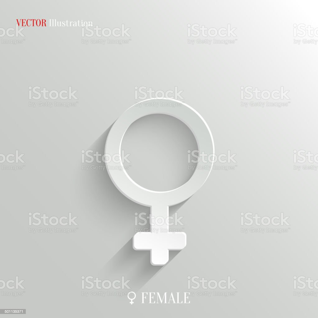 Female Icon Vector White App Button Stock Illustration