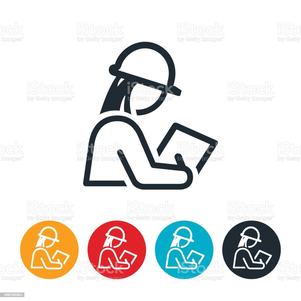 Female Inspector Icon vector art illustration