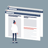 istock Female Internet user visiting a webpage. Lifestyle media. Website layout. Content. Technology. Flat editable vector illustration, clip art 1055959100