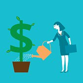 Business concept illustration of a female investor / businessman watering a dollar sign plant.