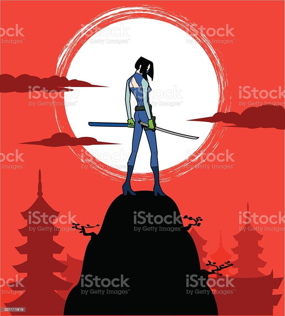 Feminino japonesa Sushi tipo Ninja Observar alguém furtivamente na diária - ilustração de arte em vetor
