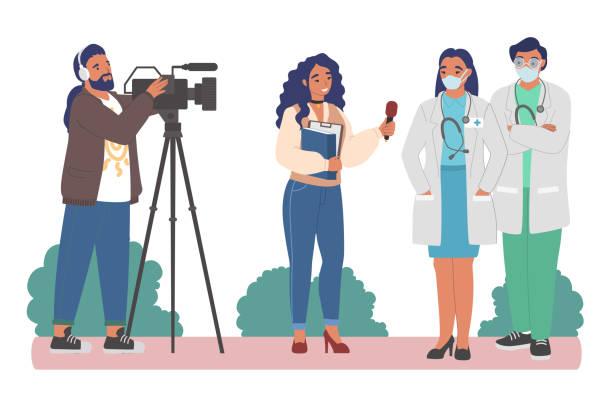 illustrations, cliparts, dessins animés et icônes de journaliste féminin, cameraman interviewant des médecins dans des masques facaux, illustration plate de vecteur. - interview