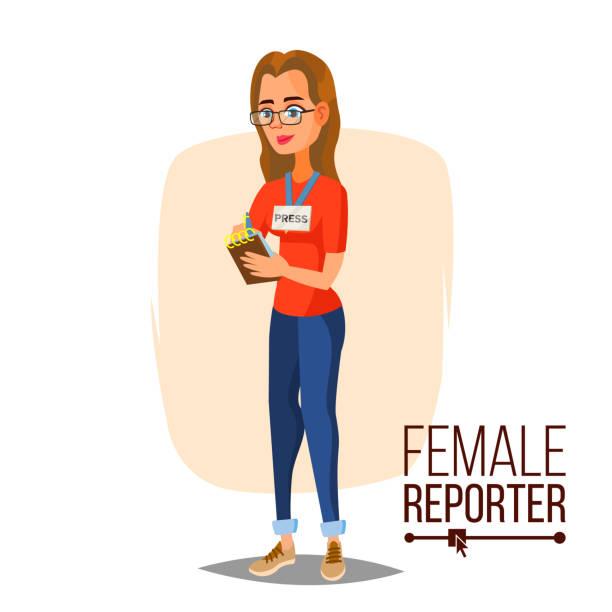 Female Journalist Vector. Microphone. Professional Reporter Isolated Flat Cartoon Character Illustration vector art illustration