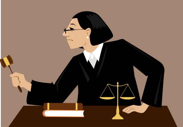 Female judge vector art illustration