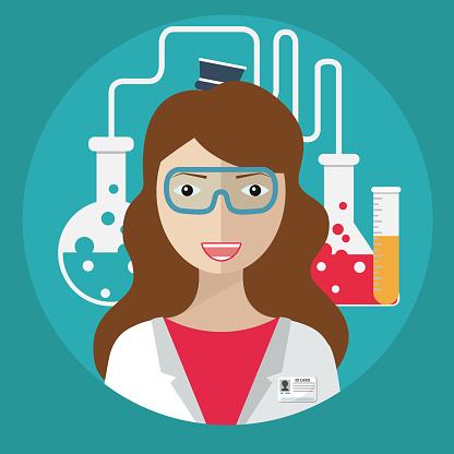 Female laboratory assistant. lab equipment