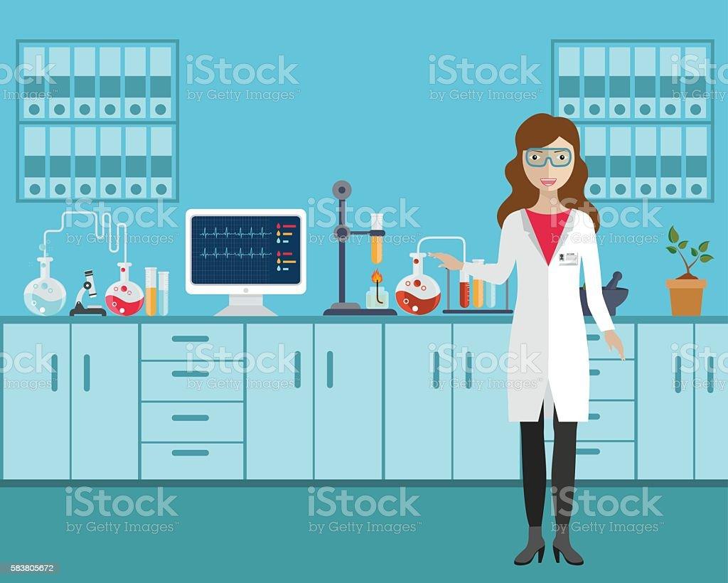 Feminino assistente de laboratório. - ilustração de arte em vetor