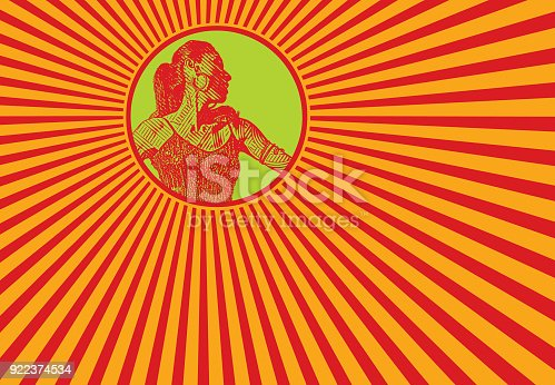 istock Female Latin Dancer with retro style pop art background 922374534