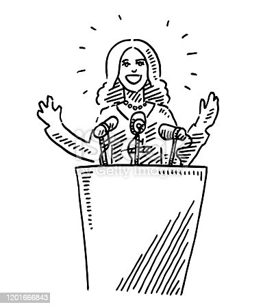 istock Female Leader Holding A Speech Drawing 1201666843