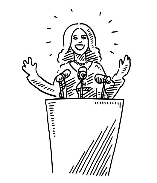 Female Leader Holding A Speech Drawing Hand-drawn vector drawing of a Female Leader Holding A Speech. Black-and-White sketch on a transparent background (.eps-file). Included files are EPS (v10) and Hi-Res JPG. women stock illustrations