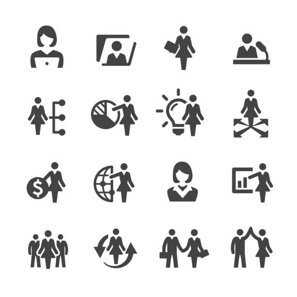illustrazioni stock, clip art, cartoni animati e icone di tendenza di female leaders icons - acme series - business woman