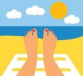 ビーチ、海に対する女性の足