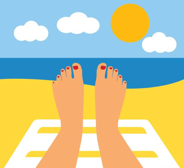 female legs against the sea, beach vector art illustration