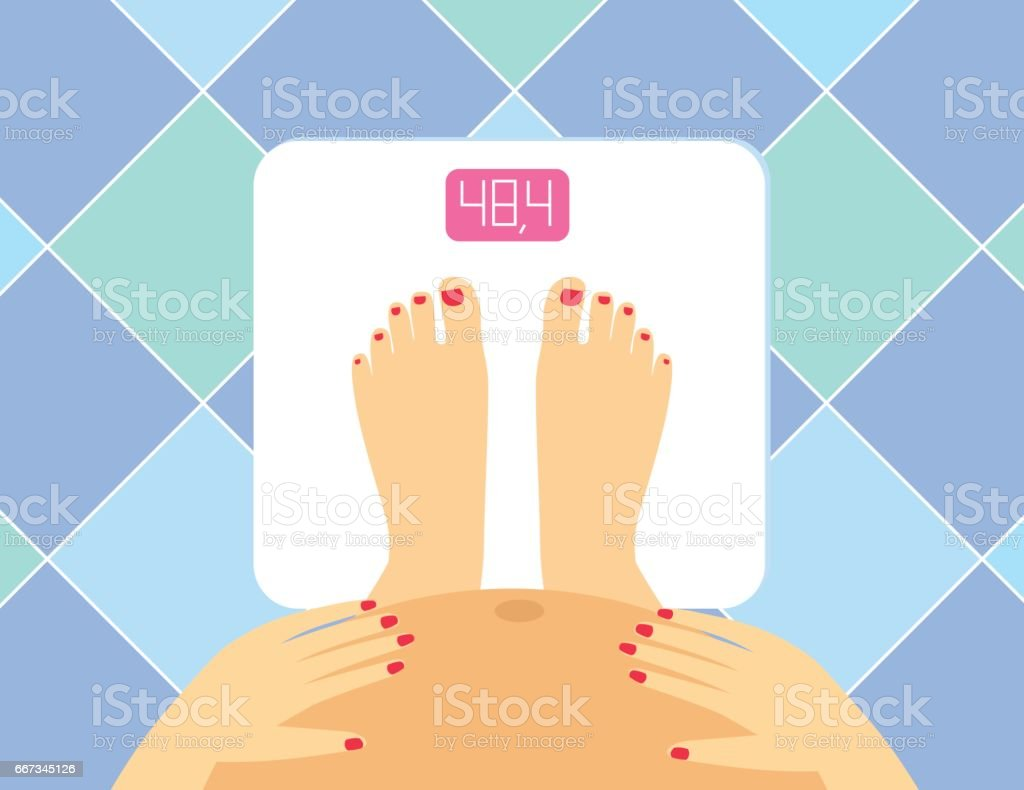 female legs and tummy on the floor scales vector art illustration