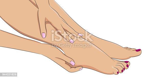 Female legs barefoot, side view. Woman hands doing feet massage