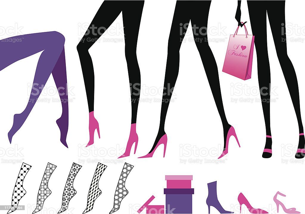 Female legs vector art illustration