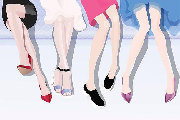 weibliche beine - möbelfüße stock-grafiken, -clipart, -cartoons und -symbole