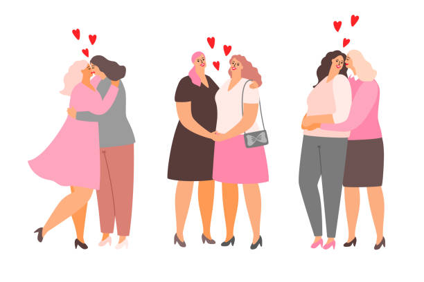 female lesbian couples hug and kiss. homosexuality love - same sex couples stock illustrations