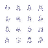 Female line icon set. Baby girl, cashier, woman, nurse. People concept. Can be used for topics like age, job, occupation